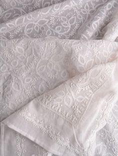 چکن کاری Chikankari is delicate traditional Persian white-on-white floral hand embroidery on cotton.