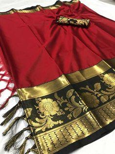 Look stunning in this Red Color Beautiful Weaving Cotton Silk Saree. This saree can be teamed with matching sandals and a clutch. Kota Silk Saree, Soft Silk Sarees, Net Saree, Saree Draping Styles, Saree Styles, Katan Saree, Indian Designer Suits, Sari Fabric, Traditional Sarees