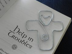 Personalized Wire cross Bookmark with heart... shaped wire -- hammered and hand…