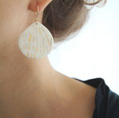 L i l i e - Ceramic jewellery - White Porcelain earrings & gold patterns - Gold filled earwires - Telline Collection. €46.00, via Etsy.