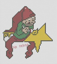 Elf with star - Christmas perler pattern by Pia Petrea