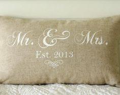 mr. & mrs. custom pillow with wedding date – Etsy