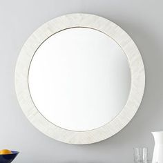 Parsons Round Mirror - Bone Inlay #westelm If you don't use bench use this mirror over the existing piece in sitting room.