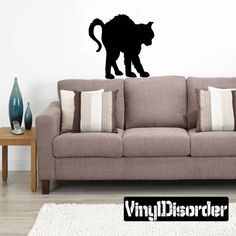 Halloween Scared Cat Wall Decal - Vinyl Decal - Car Decal - AL146