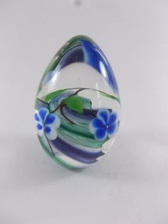 Rusu Glass Egg Paperweight Cased Blue Flowers 1987 by acornabbey