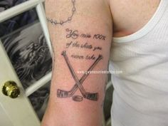 Hockey Sticks Tattoo with Quote