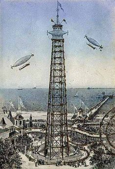 Coney Island History - First Steeplechase Park. Coney Island Amusement Park, Amusement Parks, Eaton School, Alpine Coaster, Water Tower, Roller Coaster, Great Places, Brighton, New York City