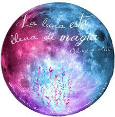 """La Luna esta llena de Magia!!Ilustración con acuarelas- lamina impresa para cuadro  LUNA MULTICOLOR """"15 x 16"""""""