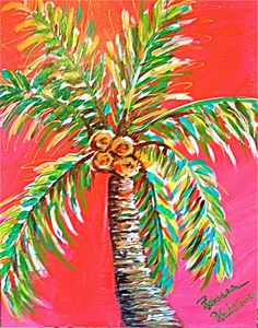 Excited to share the latest addition to my shop: Tropical Punch Palm Tree Tropical Art, Tropical Paintings, Garden Mural, Jr Art, Caribbean Art, Tree Paintings, Beach Paintings, Tree Canvas, Paint And Sip