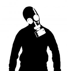 man with gas mask stencil