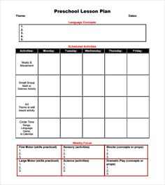 Basic Lesson Plan Template No Pictures  French Teaching