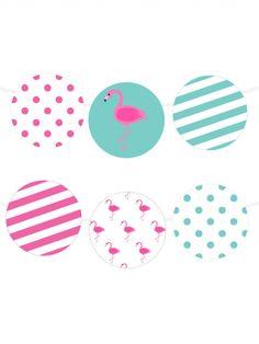 Free Printable Polka Dot Flamingo Garland from printablepartydecor.com