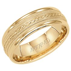 Greenwich Jewelers | Artcarved Yellow Gold Detailed Mens Wedding Band