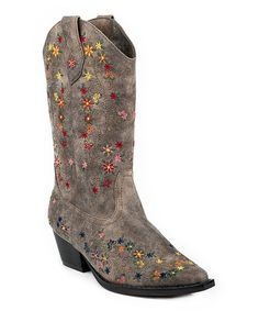 Another great find on #zulily! Brown Floral-Embroidery Cowboy Boot by Roper #zulilyfinds