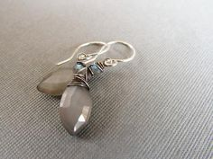 Gray Moonstone and Labradorite Earrings