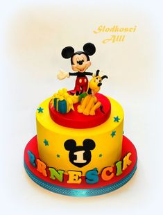 Mickey Mouse Cake by Alll Mickey Mouse Cake Topper, Mickey Mouse Cupcakes, Mickey Cakes, Minnie Mouse Cake, Baby Boy Birthday Cake, Boys 1st Birthday Cake, Mickey Mouse Birthday Cake, Donald Duck Cake, Miki Mouse