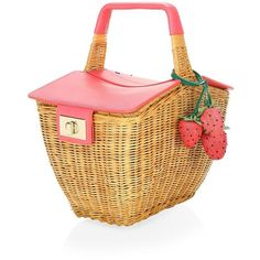 Kate Spade New York 3D Wicker Picnic Bag ($398) ❤ liked on Polyvore featuring bags, handbags, beige bag, handbags bags, man bag, handbag purse and purse bag