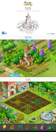 Farm: In game buildings and items by Just Games, via Behance