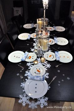Snowman Dinner -easy snowman dinner with snowman tablescape, and menu, kids will LOVE, perfect for a family dinner.