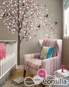 Cherry Blossom Birds Nursery Wall Decals Tree Vinyl Wall Decals - Wall stickers for girlspink cherry blossom tree with birds wall stickers girls bedroom