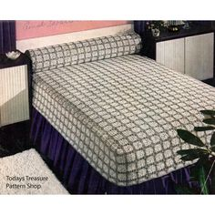 A more unusual design -- a fitted bedspread with matching bolster.  This crochet pattern, Maryland Modern, takes us back to the 1950's.