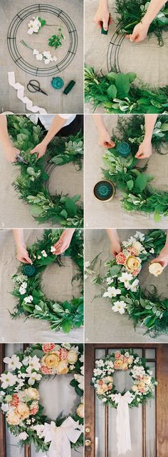 DIY Wedding Wreath from Rosegolden Flowers, styling Ginny Au, Odalys Mendez photography via Once Wed