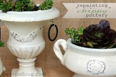 How to repaint shabby chic pots and keep the chippy look to them by using Vaseline & spray paint.