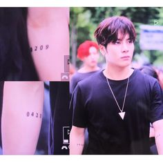 ;; JACKSON'S TATTOOS?!!! Those numbers are his parents birthday. 0423 is Mama Wang, 0209 is Papa Wang. *Note we still don't know if it's permanent or temporary. Let's just wait for Jackson to give us an answer. (: . #갓세븐 #FLIGHTLOGARRIVAL #NeverEver #GOT7 #IGOT7