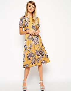 Enlarge ASOS Midi Skater Dress in Tapestry Floral Print