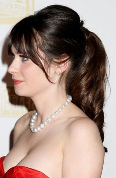 Casual loose ponytail for female Zooey Deschanel hairstyle - http://hairstylesweekly.com