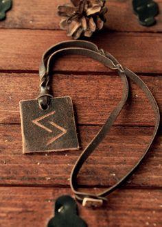 Jera rune necklace  Upcycled leather necklace  by LoitsuCrafts
