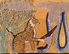 "met-egyptian-art: ""Cat Killing a Serpent by Charles K. Wilkinson, Metropolitan Museum of Art: Egyptian Art Rogers Fund, 1930 Metropolitan Museum of Art, New York, NY Medium: Tempera on. Cats In Ancient Egypt, Ancient Egyptian Art, Ancient History, Art History, Egyptian Cats, Muse Art, Grafik Design, Metropolitan Museum, Cat Art"