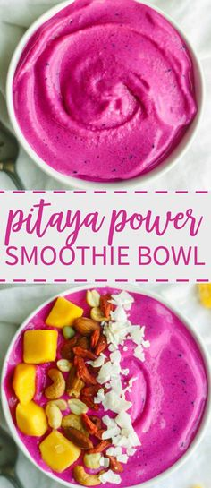 Healthy (vegan, gluten free and paleo), this pitaya power smoothie bowl is an easy breakfast recipe. It's filled with super foods like dragon fruit and blends together in minutes. Add frozen pitaya, strawberries and bananas to a bowl with almond milk and blend on high. Add your favorite healthy toppings like nuts and seeds. You can even add protein powder!