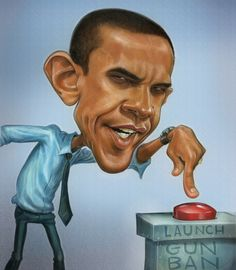 5 Barack Obama Caricatures, incl. this one by Gary Locke