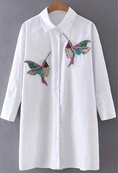 Cheap Price Hanyiren Women Bird Embroidered Blouse fashion Long sleeve high quality white turn down collar Shirt women tops chemisier femme Mexican Shirts For Women, White Shirts Women, Blouse Sexy, Blouse Dress, Work Blouse, Blouse En Coton, Spring Blouses, Shirt Blouses, T Shirt