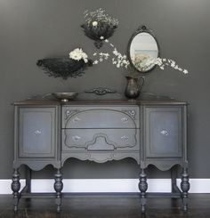Smooth and sophisticated, dark gray base, subtle highlights, slightly shimmery dark glaze and rich stained top, beautiful original hardware in 2 tone silver. Modern Vintage