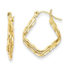 14k Polished and Twisted Square Hoop Earrings TL791