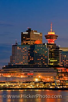 Skyline High Rise Buildings Vancouver City Dusk: The lights of Vancouver…