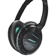 Bose SoundTrue Around-Ear Headphones (iOS) - Black/Mint (Black/Green) Acoustic Design, Cool Things To Buy, Stuff To Buy, Noise Cancelling, Bose, Over Ear Headphones, Headset, Mint, Leather