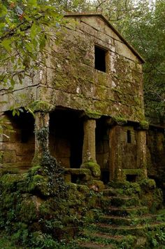 Old forgotten stone buildings are just so delightfully [semi] sinister. <3 |Architecture||Abandoned buildings||Moss covered house|