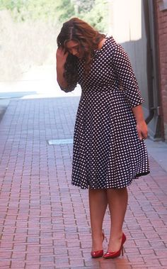 Modest Fit and Flare Polka Dot 1950s Style Vintage Dress