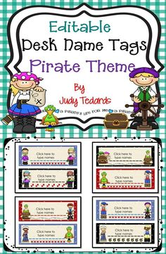 These cute editable desk name tags are perfect for your pirate themed classroom. Just type your students' names on the tags and copy for your students' desks. If you like these, I have more pirate themed products in my store.