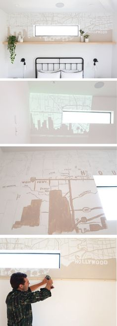 If you can turn on a projector, trace some lines, and handle a paintbrush, you can create your very own DIY Map Mural