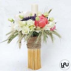 Lumanare botez bujori lavanda grau - LB79 Christening, Concept, Vase, Candles, Table Decorations, Flowers, Design, Home Decor, Decoration Home