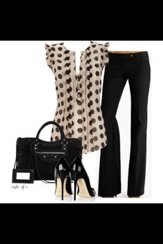 Black pants and polka dot shirt