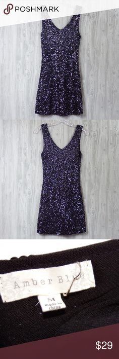 "Black Sequin Sleeveless Bodycon Dress Medium Perfect condition!! Has stretch, black Sequins, v-neck and above the knee. Chest (Armpit to Armpit)  12.5"" / Length 33"" Dresses Mini"