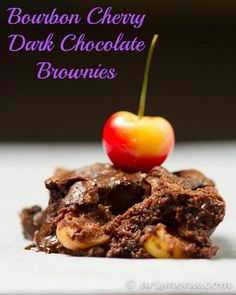 #RECIPE - Bourbon Cherry Dark Chocolate Brownies