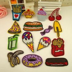 New to craftapplique on Etsy: Chips cake Hamburger candy ice cream Drink embroidered patch sew on patch size please click style (1.90 USD)