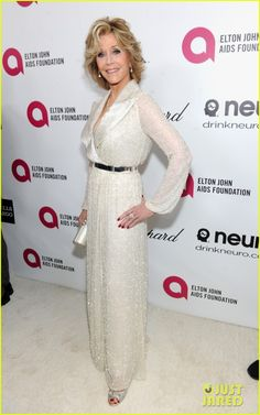 Jane Fonda looks impeccable as she arrives at the Elton John AIDS Foundation Academy Awards Viewing Party held during the 2014 Oscars at the City of West Hollywood Park on Sunday (March 2) in West Hollywood, Calif