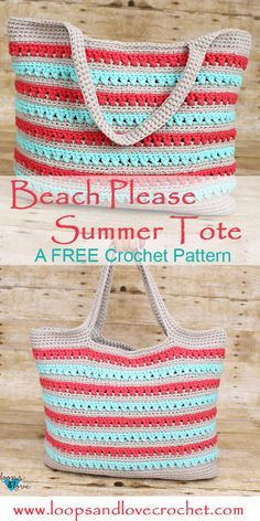 The Beach Please Summer Tote is the perfect bag to carry everything you need for your summer adventures. Check out the free pattern and video tutorial! bag tote Beach Please Summer Tote - Free Crochet Pattern Loops & Love Crochet Crochet Beach Bags, Crochet Market Bag, Crochet Summer, Crochet Tote Bags, Crocheted Bags, Crochet Baskets, Crochet Handbags, Crochet Purses, Mode Crochet